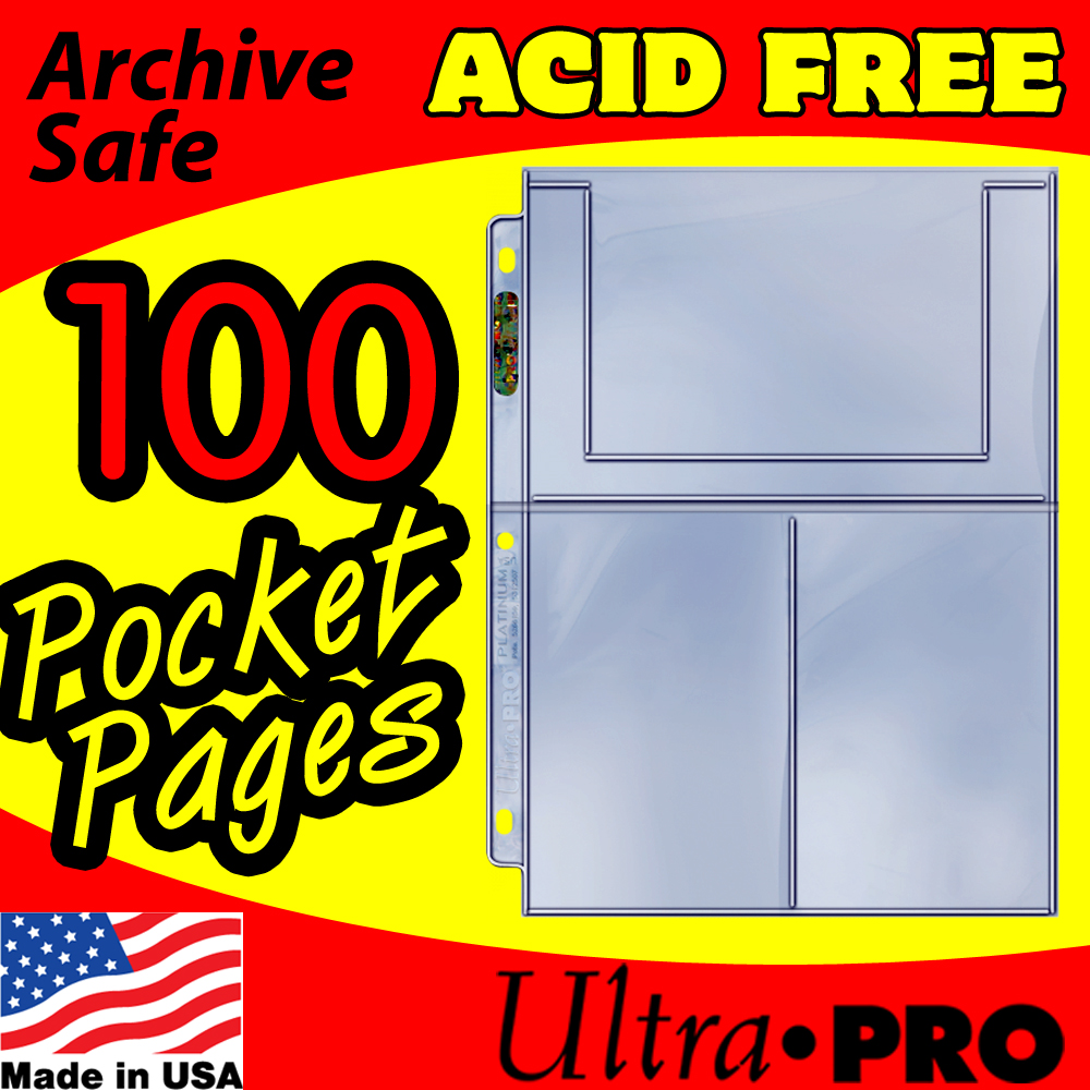 Ultra Pro 3-Pocket Postcard Pages -100-