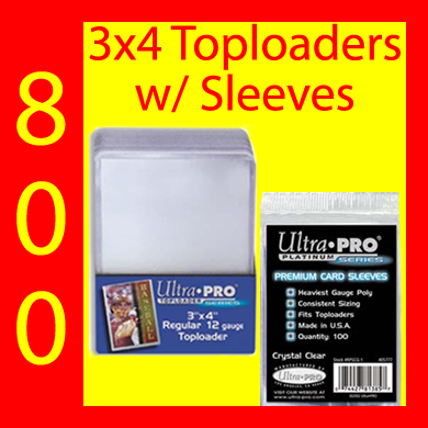 3x4 Toploads w/Premium Card Sleeves -800- USA ONLY