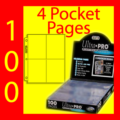 Ultra Pro 4-Pocket Platinum Pages -100- USA ONLY