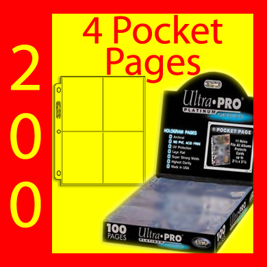 Ultra Pro 4-Pocket Platinum Pages -200- USA ONLY