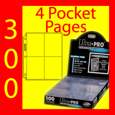 Ultra Pro 4-Pocket Platinum Pages -300- USA ONLY