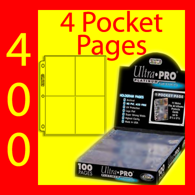 Ultra Pro 4-Pocket Platinum Pages -400- USA ONLY