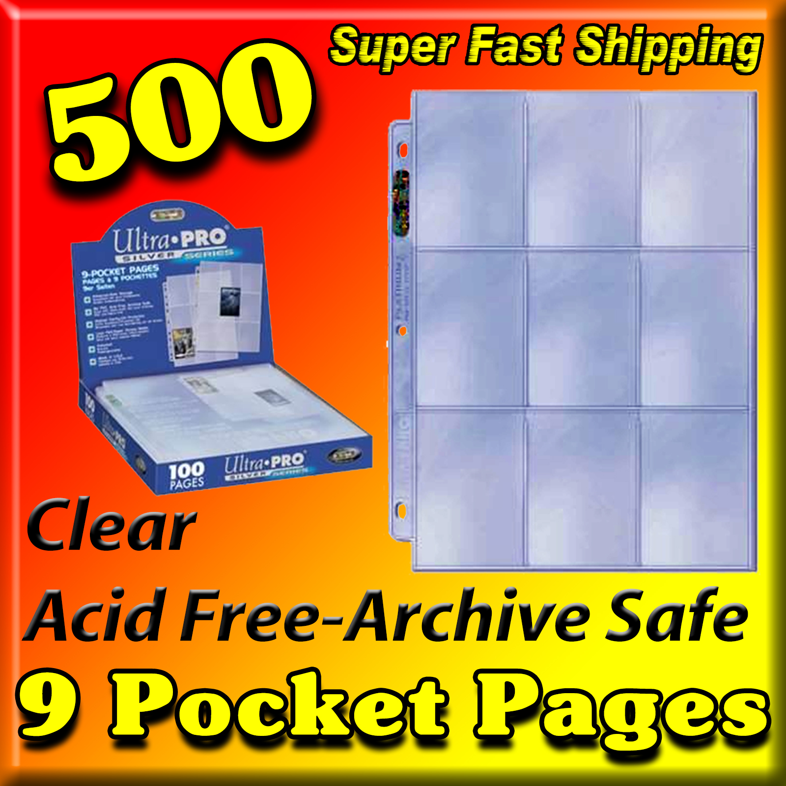 Ultra Pro 9-Pocket Pages Silver Series -500- UNITED STATES ONLY